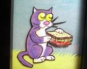 Katze mit Sandwich