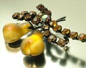 Vintage 1960s/ 70s orange paste/ rhinestone and Austrian Fruit pear costume brooch / pin - jewelry jewellery UK seller