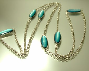 Vintage/ estate 1960s / 70s abstract, space age stainless steel and blue shell costume necklace - jewelry jewellery