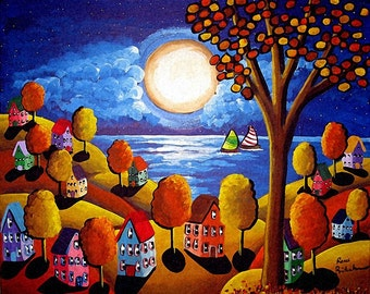 Fall Night Sailboats Houses, Trees Full Moon Whimsical Colorful Original Folk Art Painting