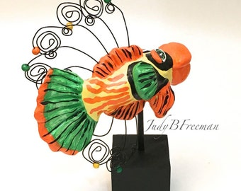 Fish Figurine Sculpture Collectible and Cute Polymer Clay Butterflyfish Made to Order FS0010