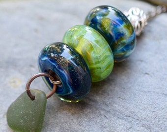 Lampwork Glass Beaded Lariat Necklace Interchangable Boro Borosilicate Handmade - Endless Forest