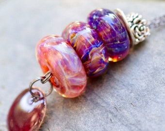 Lampwork Glass Beaded Lariat Necklace Interchangable Boro Borosilicate Handmade - Fashion Meets Art