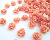 10mm round floral rose cabochons, coral color, pick your amount