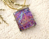 Petite Necklace, Fuchsia Pink Necklace, Dichroic Pendant, Fused Glass Jewelry, Fused Glass Pendant, Gold Necklace, Glass Jewelry, 041916p100