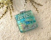 Dichroic Jewelry, Green Gold Rainbow, Dichroic Necklace, Fused Glass Jewelry, Dichroic Jewelry, OOAK Pendant, Silver Necklace, 052316p100