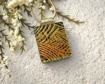 Petite Gold Black, Dichroic Glass Necklace, Dichroic Jewelry, Glass Jewelry, Fused Glass Jewelry, Gold Necklace, Glass Pendant,  102315p112
