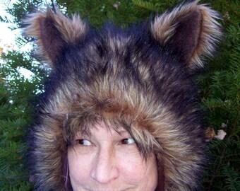 Furry Wolf Hat Ears Brown Black Tipped Faux Fur Coyote Birthday Hat Werewolf Gift Furries Spirit Adult Costume Fetish Ear Wig Fur Shaman Hat