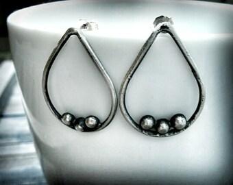 Sterling Silver Teardrop Earring - Oxidized Sterling Earrings - Recycled Silver Jewelry - Sterling Silver Post Earring - Weather Earrings
