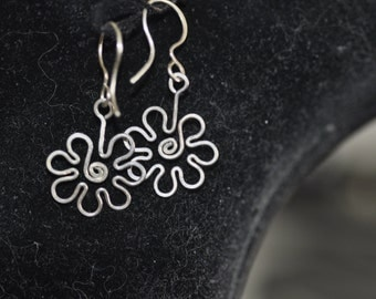 Sterling Silver Hand Bent Daisy Earrings