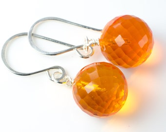Orange Faceted Quartz Ball Earrings in Sterling Silver