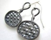 Oval Woven Sterling Silver Earrings, oval wire earrings, antiqued sterling silver weave