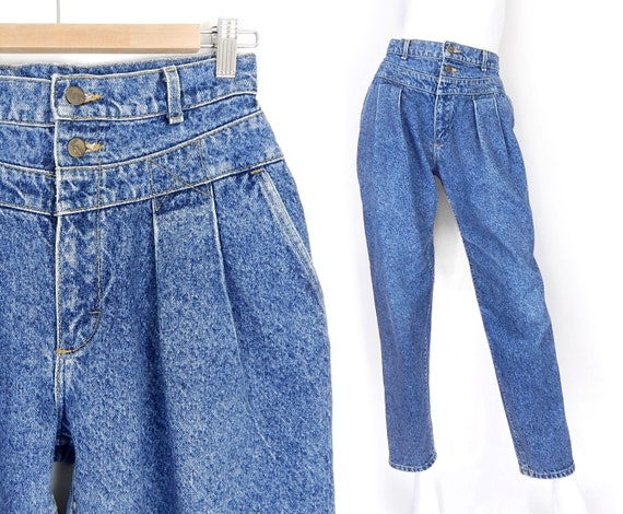 Vintage 80s 90s High Waisted Acid Wash Pleated Jeans Size 8