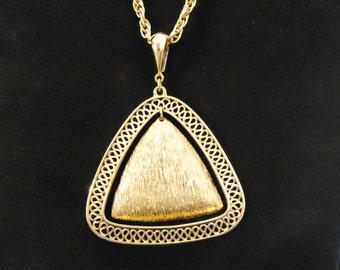 Vintage Long Gold Necklace and Pendant