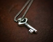 Key Pendant in sterling silver Key to my Heart - Valentine's Day gift