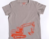 Organic S/S Grey Digger T Shirt - 6 months to 12 years