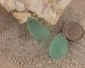 Small Autumn Green Sea Glass Pendants pair 21x13mm teardrop matte frosted cultured drilled SGP-21x13-AUTG