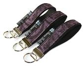 READY TO SHIP - Key Fob Wristlet - Key Chain -  Borsa Bella - Purple Pixy Fabric