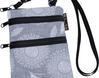 Crossbody Purse - 3 Zippered Pockets Bag - Small Cross body zippered pocket Purse Bag -Washable - Small Cell Phone Purse - Dandelion Wishes