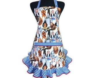 Wizard of Oz Retro Style Apron,  Blue and white check ruffle, Dorothy, Tin Man, Lion, Scarecrow