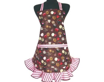 Chocolate Candy Apron for women with Retro Pink and Brown Stripe Ruffles , Pin Up Girl / Rockabilly / Flirty Kitchen Decor