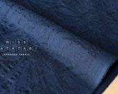 Japanese Fabric Textured Enshuku voile - daisy - navy blue -  50cm