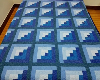 Queen  size Machine quilted Around the world  Patchwork complete   Quilt J-53