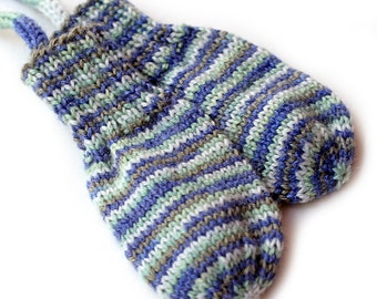 Thumbless Mittens. No Thumb Baby Mittens on a String. Hand Knit Infant Mitts. Winter Hand Warmers. Blue Stripe Gloves. No Thumb Baby Paws