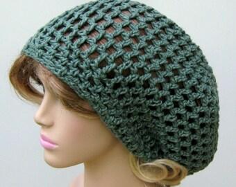 Slouchy beanie, Crochet open stitch Country green Cotton Sock Dread Tam Hat, Hippie Bohemian slouchy hat, man hat, woman beanie, handmade