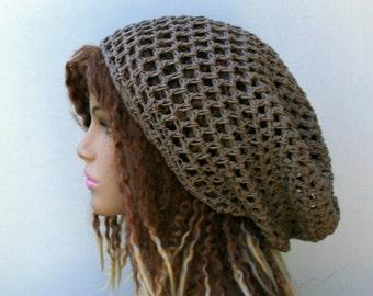 Slouchy hat, taupe brown Hemp cotton Hippie Dread Tam Snood hat slouchy beanie, light brown slouchy summer hat