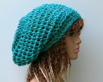 Hemp Slouchy beanie, dread tam, Hemp Hippie Bohemian slouchy beanie, dreadlocks hat, woman slouchy hat/mint teal green beanie hat, pure hemp