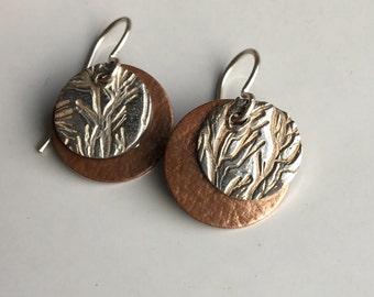 Fine Silver Earrings, PMC Earrings, Dangle Earrings, Tribal Earrings, Layered Earrings, Copper and Silver, Industrial, Unique