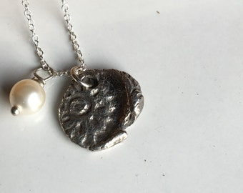 Fine Silver Mandala Necklace, PMC Necklace, Delicate Necklace, Glass Pearl, Swarovski Pearl, Mandala Flower Necklace, Etsy, Etsy Jewelry