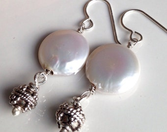 Etsy, Etsy Jewelry, Coin Pearls, Freshwater Pearls, Bali Silver Sterling, Unique, Tribal, Ethnic