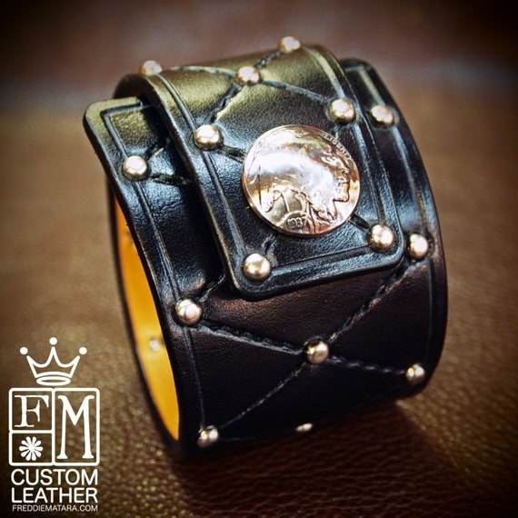 Black Leather cuff bracelet harlequin Diamonds and studs Buffalo nickel made for You In Brooklyn NYC by Freddie Matara