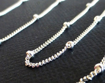 3 feet Satellite Chain (with 1.9mm bead) 925 Sterling Silver Loose Chain Ch79