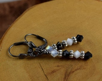 TUXEDO black and white Les Petite Cristaux Swarovski crystals handcrafted earrings gorgeous and still affordable