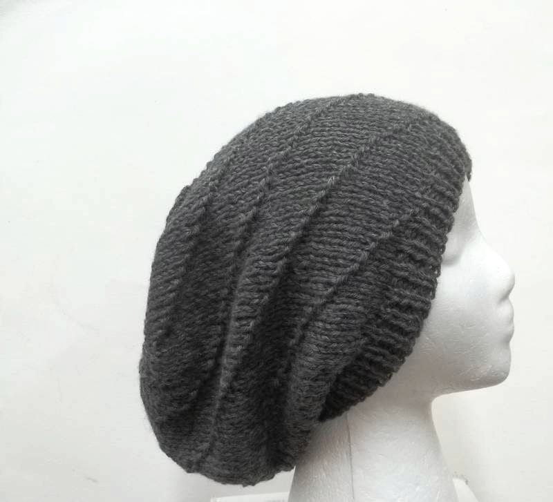 Knitting Pattern Swirl Hat : Knitted slouch hat in swirl pattern large size. by CaboDesigns