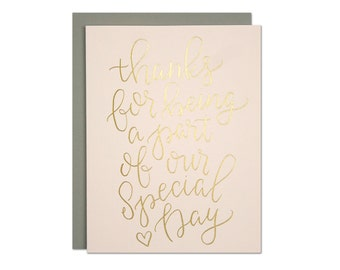 Our Special Day Card / Wedding Vendor Thank You / Wedding Party Thank You / Gold Foil on Blush Pink