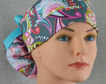 The Perfect Fit Ponytail Scrub Hat Original Design Best Fit Ever Pony Pouch- Gray Paisley