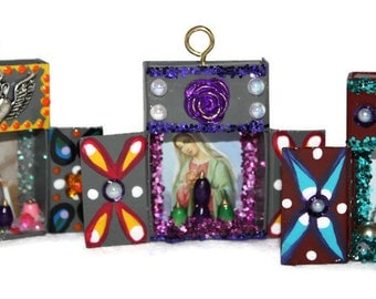Recycled Matchbox Gift Tag/Mexican Ornament/Holiday Decoration/Catholic Prayer Card