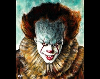 "Print 8x10"" - Pennywise - Clown Stephen King Horror Fantasy Drama Comedy Monster Creature Scary Halloween Serial Killer Pop Art Ruff Evil"