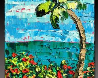BEACH  Painting Original Oil Painting Tropical Ocean Palm Trees  ART B. Sasik