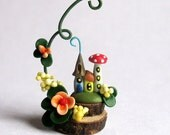 Miniature Whimsy Fairy House with Vine  OOAK by C. Rohal