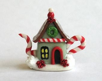 Handmade Miniature Fairy Whimsy Christmas House Teapot by C. Rohal