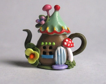 Handmade Miniature Fairy Whimsy House Teapot by C. Rohal