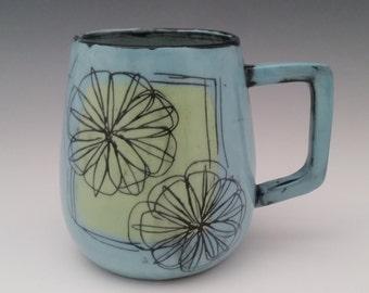Large Ceramic Mug Floral Pattern Pottery Cup