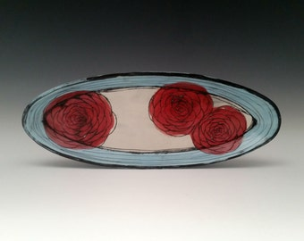 Large Oval Ceramic Plate with Red Roses