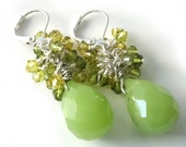 Gemstone Cluster Earrings, Lime Green Quartz,  Briolette Earrings, Swarovski Crystals, Silver Earrings, Beaded Jewelry, Beaded Earrings