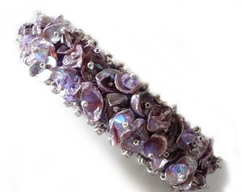 Lavender Pearl Bracelet, Mauve, Violet, Silver, Freshwater Heishe Pearls, Swarovski Crystals, OOAK,  Cuff Bracelet, Beaded Jewelry